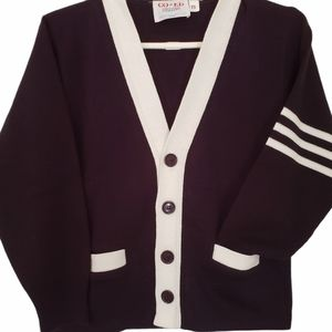 Youth small marine blue and white cardigan